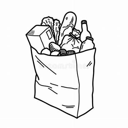 Grocery Bag Shopping Inside Paper Drawn Fresh