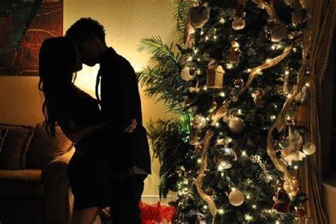 christmas christmas tree couple indie kiss image