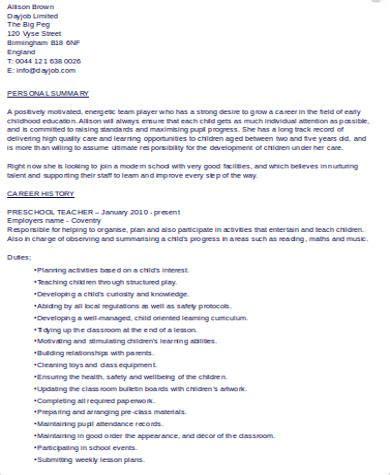 sample preschool teacher resume templates  ms