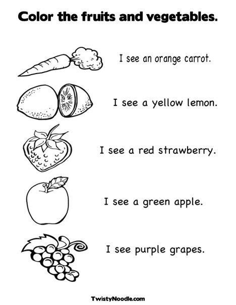 color the fruits and vegetables coloring page and