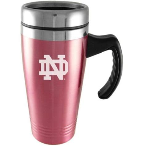 notre dame engraved oz stainless steel travel mug pink