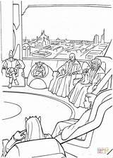 Jedi Kleurplaten Coloring Wars Coruscant Council sketch template
