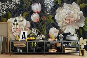 papier peint floral tapisserie panoramique camelia sticker With tapis chambre bébé avec poster jardin fleuri