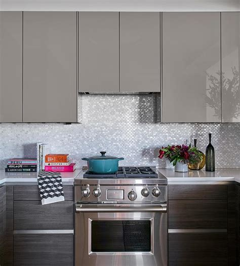 grey lacquer kitchen cabinets gray lacquered kitchen cabinets with white and silver oval 4082