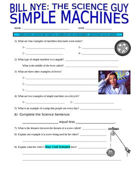 Bill Nye The Science Guy Simple Machines Worksheet Answers Structures Stem Video Tpt Grade 3