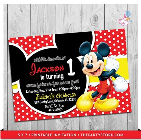 mickey mouse party invitations printable boy st birthday