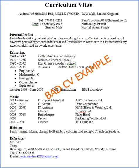 Bad History Resume by Bad Cv Exle
