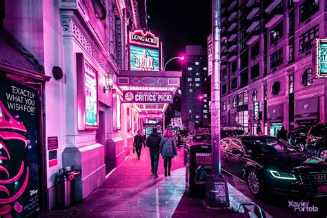 nighttime  capture vibrant pink glow  times squares neon lights