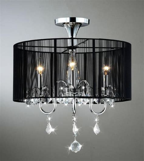 black and chrome semi flush mount chandelier