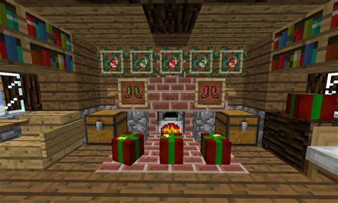 christmas lights over a winter fireplace minecraft