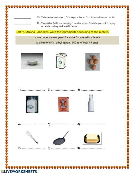 food preparation vocabulary interactive worksheet