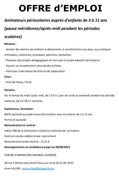 offre d emploi animateurs p 233 riscolaires fleury sur orne