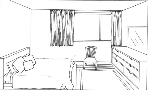 dessin chambre bedroom in one point perspective interior drawing sketch