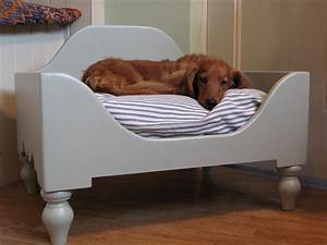 luxury raised wooden dog bed medium
