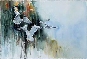 Gemalte Bilder Auf Leinwand : ich seh dich c ein aquarell mit waldohreule von hanka koebsch bilder aquarelle vom meer ~ Frokenaadalensverden.com Haus und Dekorationen