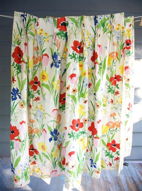 floral print drapes vintage curtains 1960 s vera floral print pair by