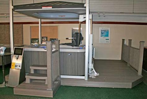 handicapped accessible chair lift swings  hot tub wishes   yard tub patio spa