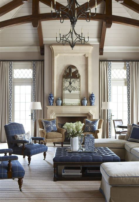 Living Room With Blue Decor by A Beautifully Done Living Room In Navy With Blue And White