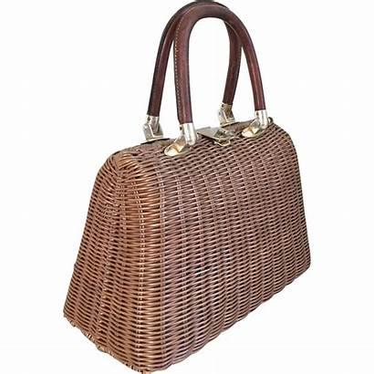 Straw Wicker 1960s Brown Purse Summer Handbag