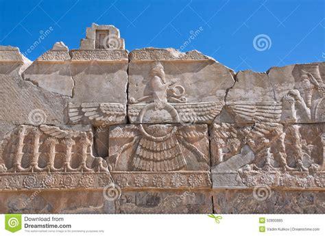relief  winged sun symbol  zoroastrianism  ruined