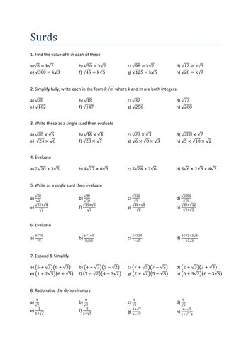 maths surds worksheet by tristanjones teaching