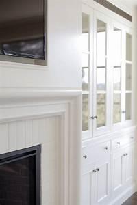 Elite Design Glasses Tv Filling Fireplace Niche Over Beveled Fireplace Mantle