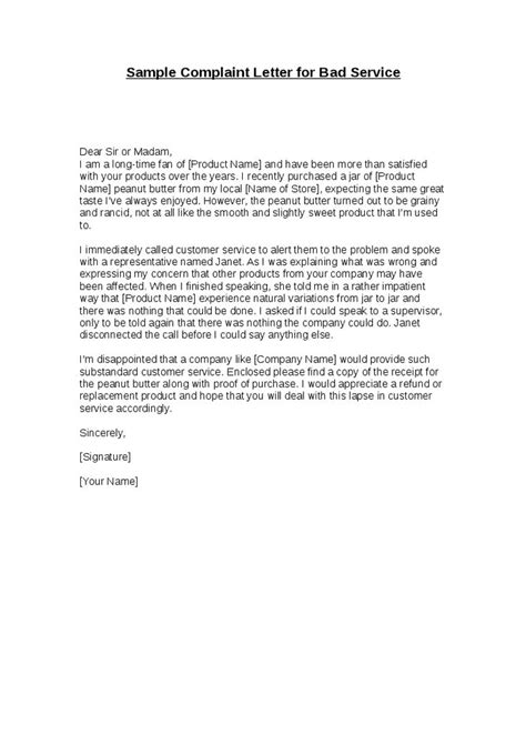 image result  sample  complaint letter  bad