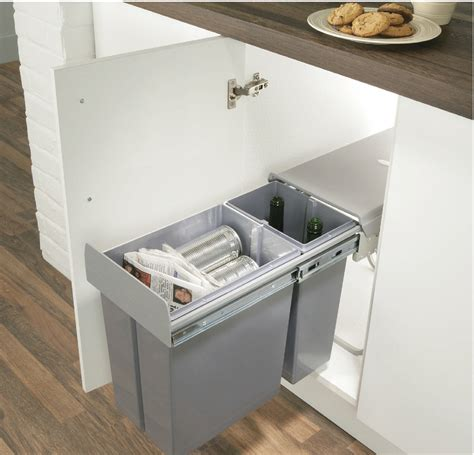 Kitchen Bin Inside Cupboard Door by Pull Out Waste Bin For Hinged Door Cabinets 30 Litres