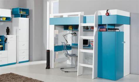 lit combiné armoire bureau combin lit enfant bleu et blanc avec bureau armoire et