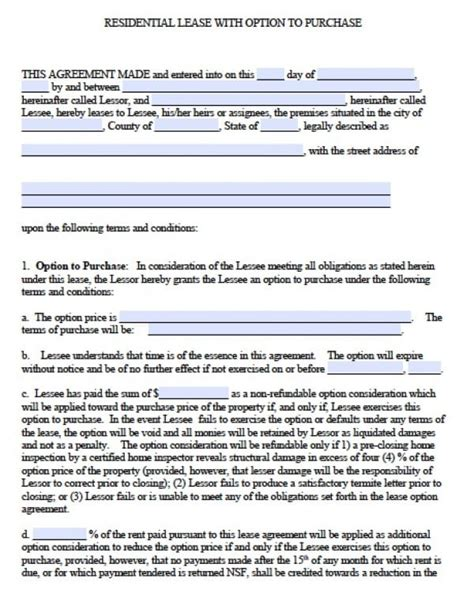 commercial lease with option to purchase template free georgia residential lease agreement pdf word doc