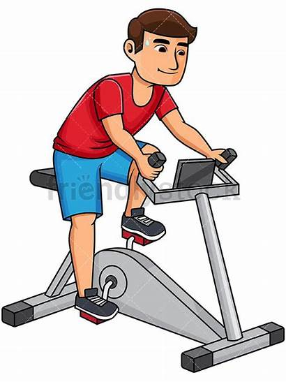 Bike Stationary Riding Cartoon Clipart Healthy Young