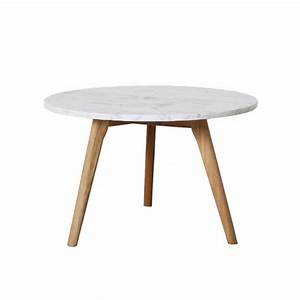 Table Basse Blanc Bois : table basse ronde scandinave en marbre blanc et bois fiord trendy homes ~ Teatrodelosmanantiales.com Idées de Décoration