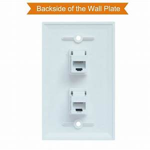 Ethernet Wall Plate 2 Port Cat6 Ethernet Cable Wall Plate