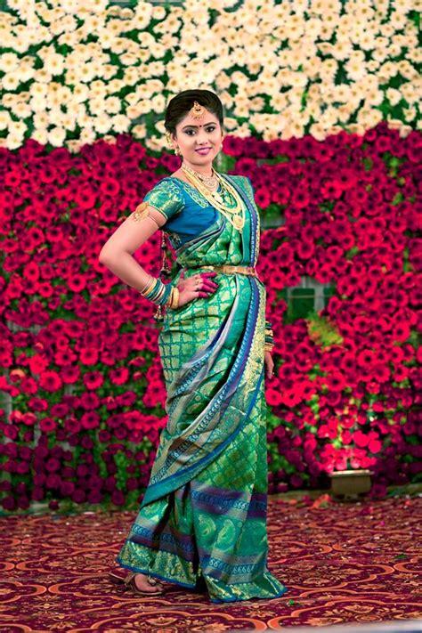 green silk saree  royal blue border photo gallery