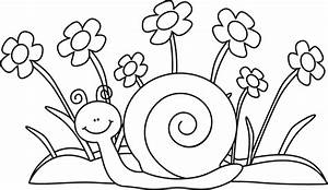 Black and White Snail and Flowers Clip Art - Black and ...