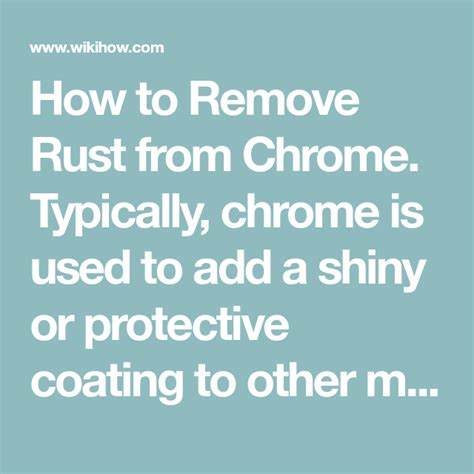 chrome remove rust wikihow