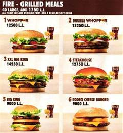 burger king menu menu for burger king furn el chebbak
