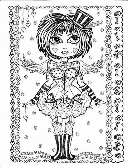 Gothic Coloring Pages Angel Angels Adult Digital