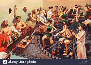 Ancient Greek men are entertained by female performers at ...
