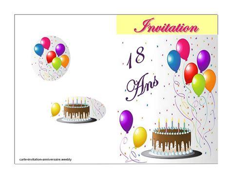 modele de carte anniversaire 18 ans modele invitation anniversaire 18 ans invitation