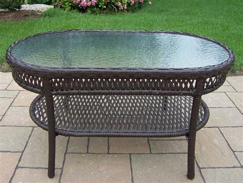 oakland living elite resin wicker oval glass top outdoor