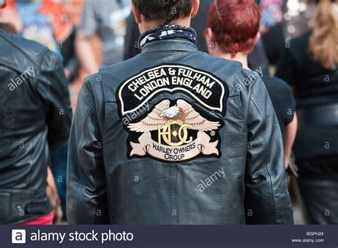 Harley Davidson Biker Wearing A Leather Jacket With Emblem