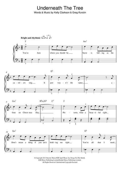 underneath the tree clarkson free piano sheet music at pianobragsongs com blogs underneath the tree sheet music by clarkson beginner piano 119721