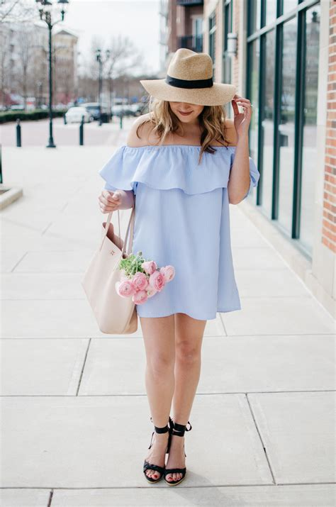 Girly Spring Outfit - Stripe Off Shoulder Dress | By Lauren M