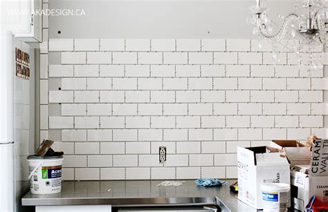 how to install wall tile in kitchen subway tile wall in the kitchen 9463
