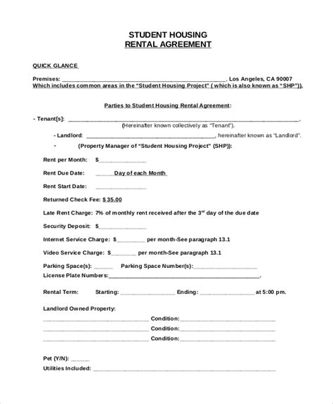 agreement format samples  ms word