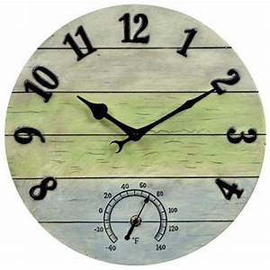Acurite 14 in weathered combo analog wall clock 75354a1sb for Outdoor wall clocks home depot