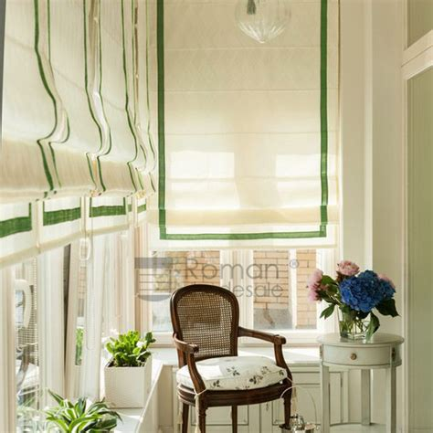 Beige And Lime Green Elegant Roman Shade Curtains