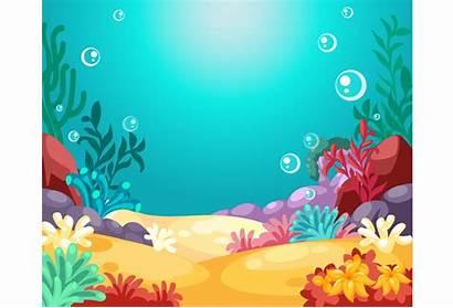 Underwater Background Vector Illustration Coral Reef Water