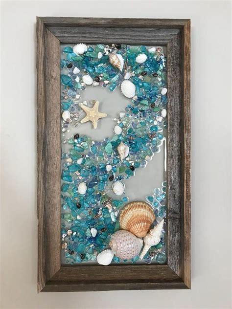 beach glass mermaid  starfish  barnwood frame beach